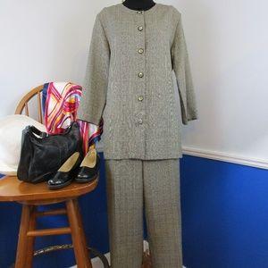 Vintage 80's Textured Plaid Hi Waist Pantsuit